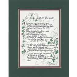 An Irish Wedding Blessing Green and Wine Matted Print