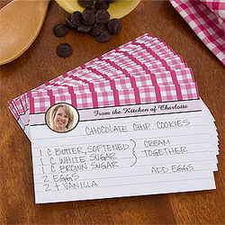 Cheerful Checks Personalized 3x5 Photo Recipe Cards