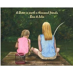 Personalized Fishing Together Watercolor Print