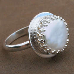 Sterling Silver Tudor Pearl Ring