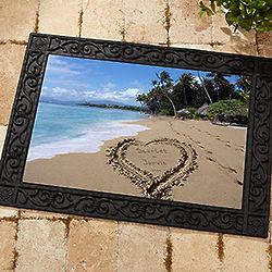 Personalized Door Mat - Sandy Beach Tropical Island Doormat