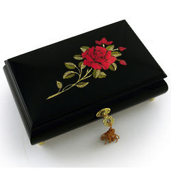 Black Lacquer Single Red Rose Music Box