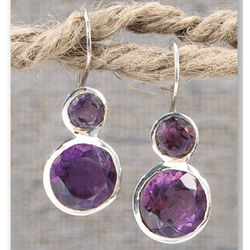 Stacked Amethyst Earrings
