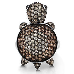 Brown Cubic Zirconia Sterling Silver Turtle Fashion Ring