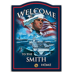 Personalized Navy Wooden Welcome Sign