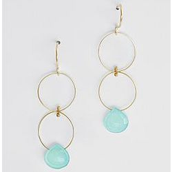 Blue Chalcedony Double Hoop Drop Earrings