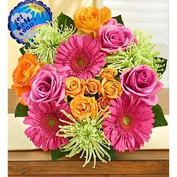 Vibrant Blooms Bouquet with Get Well Balloon
