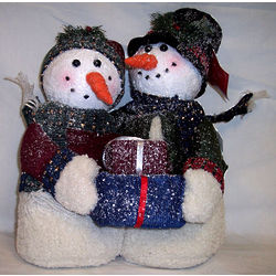 "Snowman Couple 14"" Indoor Holiday Decor"