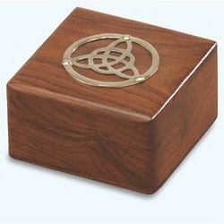 Wooden Celtic Box with Brass Trinity Knot