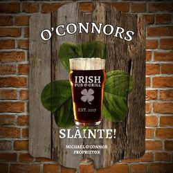 Slainte Toast Personalized Bar Sign