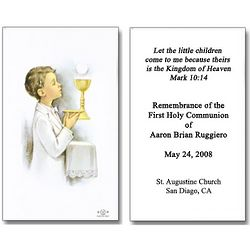 Personalized Boy First Communion Holy Cards