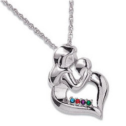 Personalized Sterling Silver Mother's Embrace Birthstone Pendant