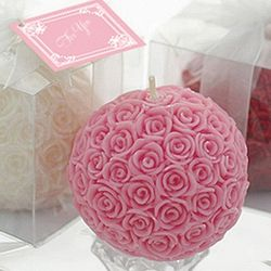 Rose Ball Candle Wedding Favor