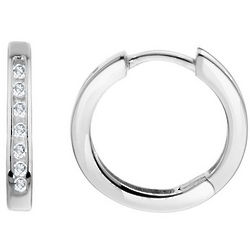 Huggie Hoop Diamond Earrings in 10K White Gold