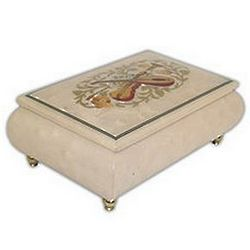 Cream Colored Musical Jewelry Box with Instrument Inaly