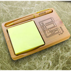 Personalized Flame Initial Wooden Notepad and Pen Holder