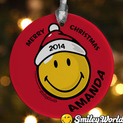 Personalized Merry Christmas Smiley Face Ornament