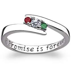 Promise is Forever Sterling Silver Couple's Birthstone Ring