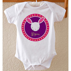 Personalized Trendy Bunny Easter Baby Bodysuit