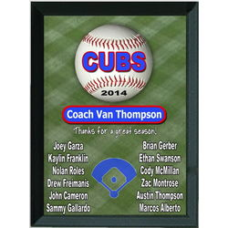 Personalized Baseball Team Roster Plaque
