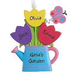 Personalized Tulip and Butterflies Ornament