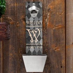 Argyle Personalized Wall Mounted Bottle Opener and Cap Catcher