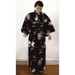 Woman's Yukata Robe in White and Lavender on Black