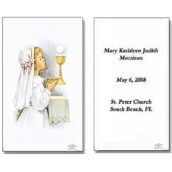 Personalized Girl First Communion Holy Cards