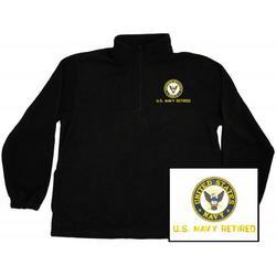 US Navy Retired Quarter Zip Fleece Pullover