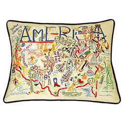 America or Canada Embroidered Pillow