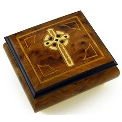Handcrafted Celtic Cross Inlaid Music Box