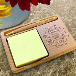 Personalized Sunshine Wooden Notepad and Pen Holder