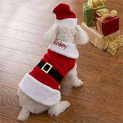 Personalized Dog Santa Claus Suit