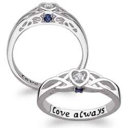 Couple's Birthstone Diamond Heart Celtic Promise Ring