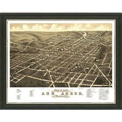 Framed Antique Map of Ann Arbor
