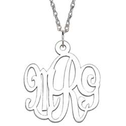 Sterling Script 3-Initial Monogram Necklace with Rope Chain