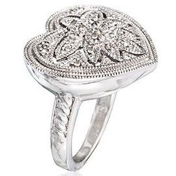 Sterling Silver Diamond Openwork Heart Ring