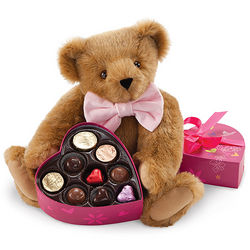 Teddy Bear Stuffed Animal in Bow Tie Bearing Chocolates