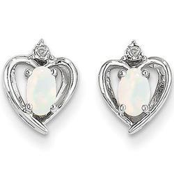 14K White Gold Opal Heart Earrings