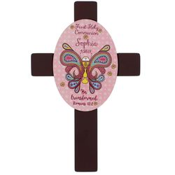 Girl's Personalized Be Transformed First Holy Communion Cross