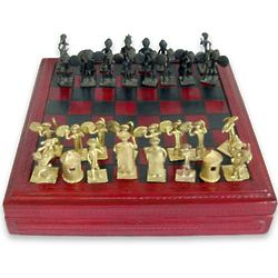Tribal Feuds Leather and Brass Chess Set