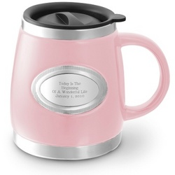 Pink Stainless Steel and Ceramic Mug