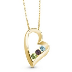 14K Gold Plated Sterling Silver Birthstone Heart Necklace