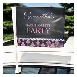 Personalized Damask Bachelorette Car Flag