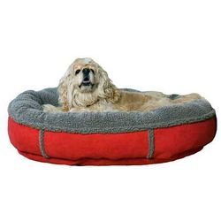 Small Red Faux Suede Dog Bed