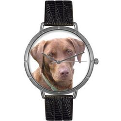 Chocolate Labrador Retriever Print Watch in Classic Silver Case