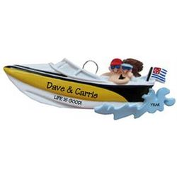 Personalized Speed Boat Ornament