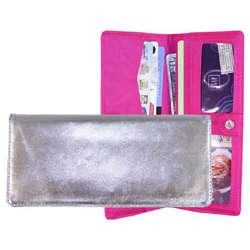 Silver Metallic Leather Executive Wallet