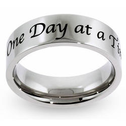 One Day at a Time Stainless Steel Message Ring