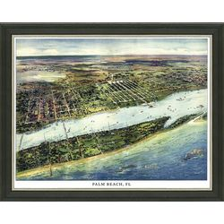 Framed Map of Vintage Palm Beach